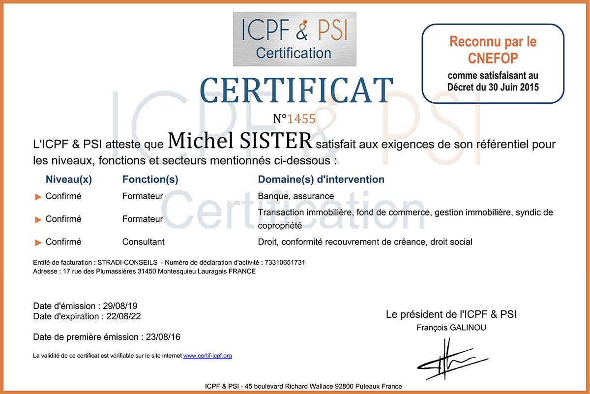 Certificat ICPF & PSI Michel Sister Stradi Conseils
